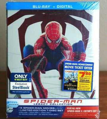Spider-Man Legacy Collection Steelbook Lot (7-Disc set Blu-ray/Digital) Sealed