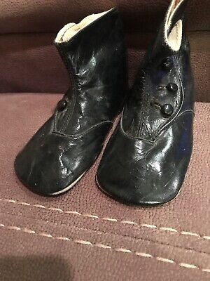 Antique Baby Shoes Toddler Boots Black Leather High Top Button Up