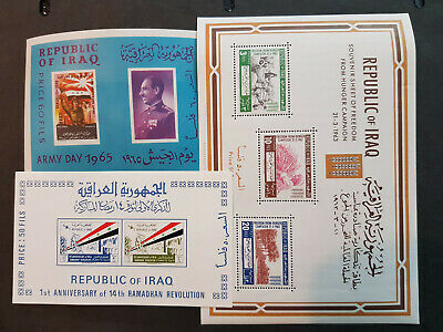 Iraq 1963-1965 president Arif Three Miniature sheets  MNH OG   CV 26 £