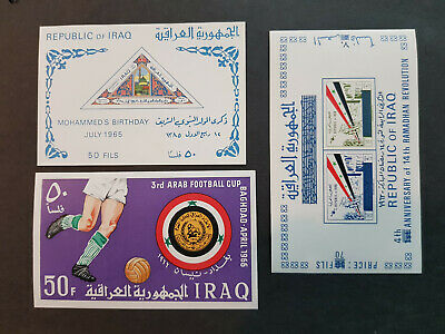 Iraq 1963-1967 Football Three Miniature sheets  MNH OG   CV 28 £