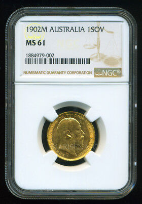 Australia 1902 M Gold Coin Evii Sovereign * Ngc Certified Ms 61 * Brilliant