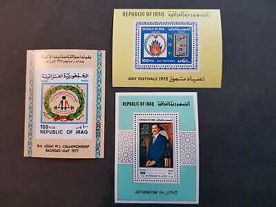 Iraq 1977-1980 Asian Weightlifting Saddam Three Miniature sheets MNH OG  CV 25 £