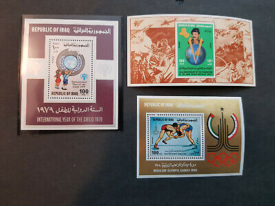 Iraq 1979-1980  Saddam Olympics Moscow Three Miniature sheets MNH OG  CV 50 £