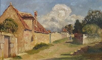 Post-Impressionist Oil Painting, Antique Village Landscape,G. Watrin (1860-1924)