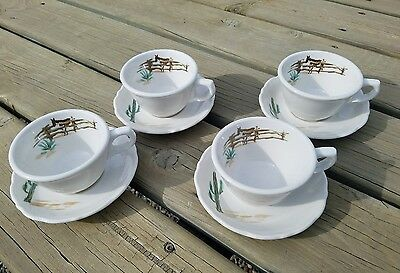 SUNDOWN Syracuse China COWBOY WESTERN Restaurant Ware 4 Coffee Cups Saucers