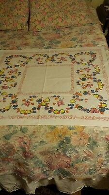 "VINTAGE 32"" x 34"" COTTON PRINT TABLECLOTH ~  BLUE, PINK, YELLOW FRUIT DESIGN"