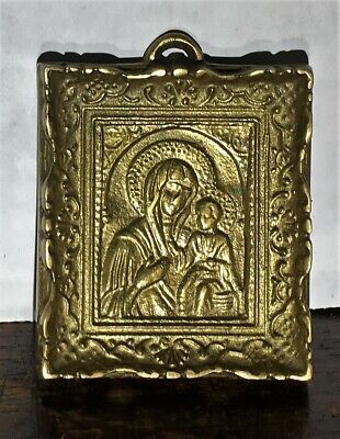 Orthodox Greek Bronze Theotokos Our Lady Of Perpetual Help Icon Wall Plaque