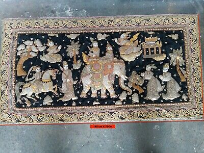 Large Vintage Hand Embroidered KALAGA TAPESTRY 145 X 75 Cm .