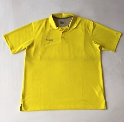 2d407c3edd9 Columbia Mens Omni Shade Titanium Polo Shirt Outdoors Fishing Yellow Size XL