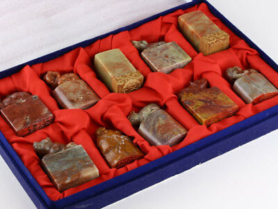 Chinese Old Stamp Seal Statue / Shoushan Tianhuang Chicken Blood Stone / 10pcs