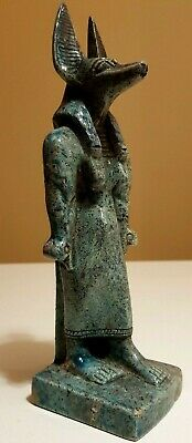 ANCIENT EGYPTIAN ANTIQUES Rare Egypt Statue Of God ANUBIS Blue Glazed Stone BC