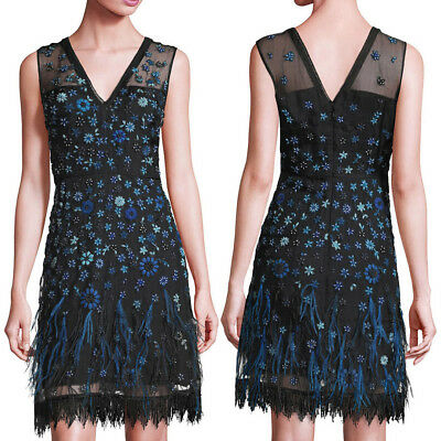 ELIE TAHARI Black Silk Organza Blue Floral Embroidered JAYLA Dress NWT • 75% OFF