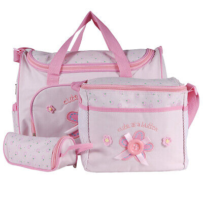 4 PCS Baby Diaper Nappy Changing Bag Set Bags Brand New Pink  Flower