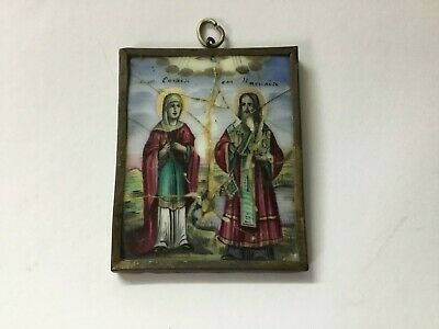Antique Icon 19TH Russian porcelain hand painted enameled hanging wall (m2149)
