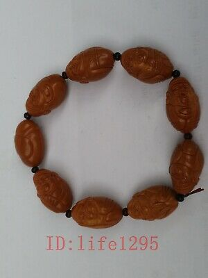 Collection Bodhi Seed Olive Nut Carved Prayer Worry Bead 8God of Wealth Bracelet
