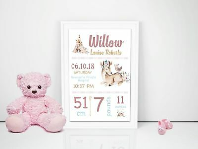 Personalised Baby Nursery Decor Wall Art Print Birth Announcement Woodlands Girl