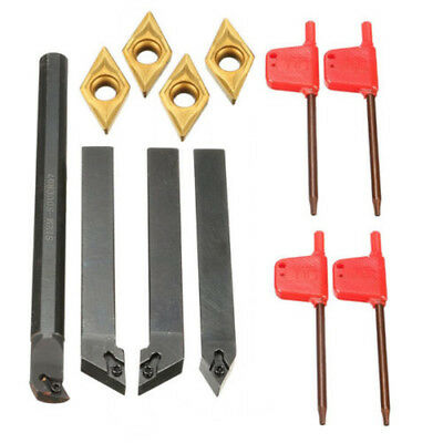 4x 12mm Lathe Turning Tool Holder Boring Bar & DCMT0702 Carbide Inserts & Wrench