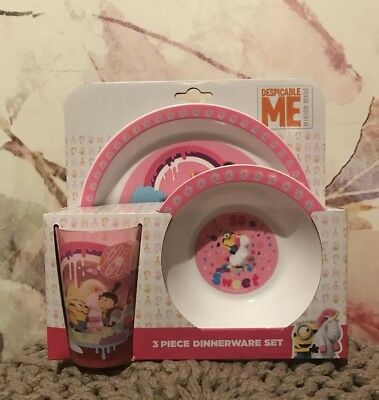 Despicable Me 3 Piece Dinnerware Set UNICORN Pink Plate Bowl Plastic Cup Gift