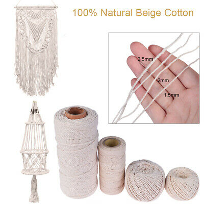 Natural Beige Cotton Twisted Cord Craft Macrame Artisan String Gift Packing DIY