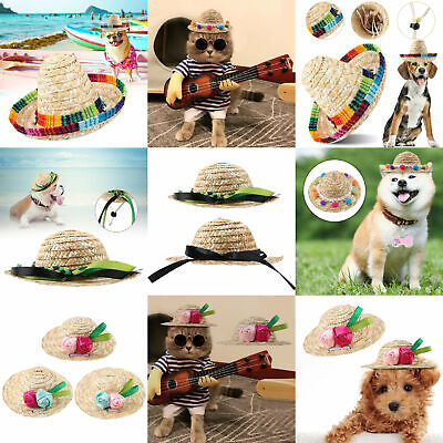 3002b76ce9f Cute Pet Cat Puppy Dog Straw Hat Adjustable Mexican Sombrero Photography  Props