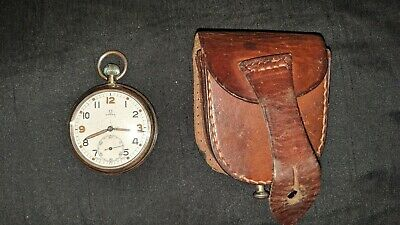 Omega GSTP Military Pocket Watch with leather pouch