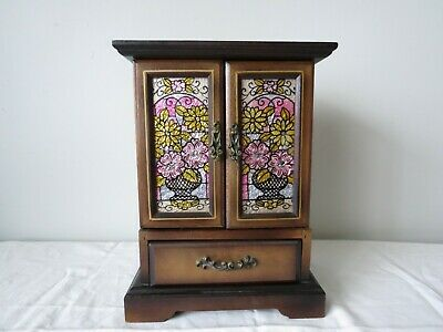 Vintage Japanese wooden jewellery box with musical