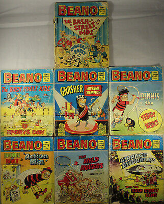 7 x Vintage 1982 Beano Comic Library Issues 10, 13-15, 17-19 Reading Copy Only