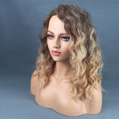 Water Wave Brown Blonde Synthetic Lace Front Wigs Short Wig for Women Makeup LH