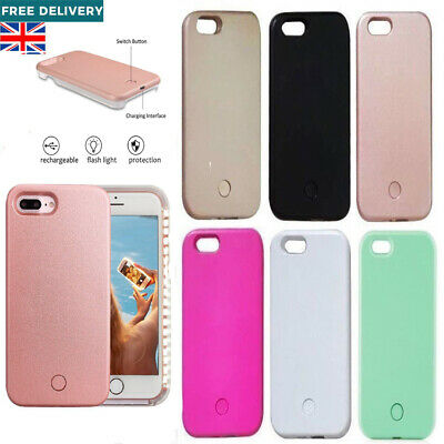 White Light up LED Selfie Phone Case Cover For Apple iPhone 5 6 6s 7 8 Plus X UK