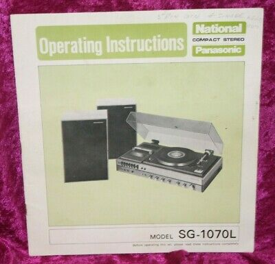 Vintage National Panasonic SG-1070L Compact Stereo Operating Instructions.