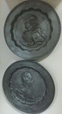 Vintage French Pewter Plaques Louis XVI and Marie Antoinette