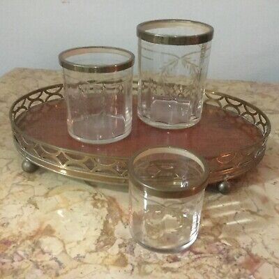 Antique French Etched Glasses and Tray Set