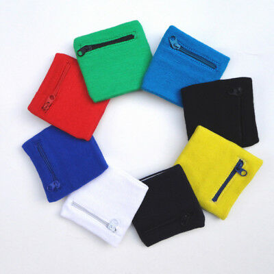 Unisex Sports Wrist Sweatbands Tennis Badminton Gym Wristband Zip Wallet Purse