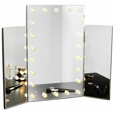 Trifold Dressing Table Makeup Mirror With Warm LED Lights Hollywood Illuminated
