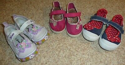3 x PAIRS PUMPS PINK BLUE PURPLE TRAINERS SIZE 7 /24 GIRLS SHOES YOUNG DIMENSION