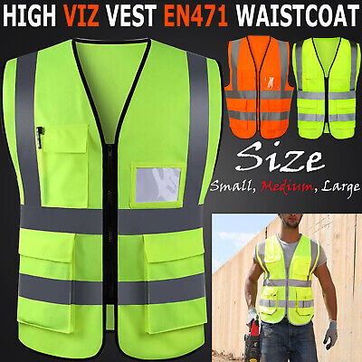 *Hi Vis Yellow High Viz Visibility Orange Vest Safety Work Waistcoat Reflective*