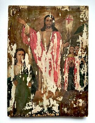 Rare Orthodox Icon Resurrection of Christ Russian Hand Painted Board 35x26cm