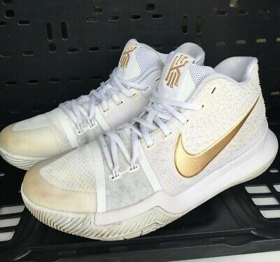 c136cb62816 Nike Kyrie 3 Mens Basketball Shoes sz 9 White Gold Finals 852395 902  Pre-Owned