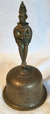 Indian Brass Bell With Figurine Handle