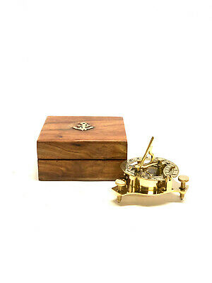 "New Solid Brass Nautical 4"" Sundial Compass in Wooden Teak Box Steampunk Style"