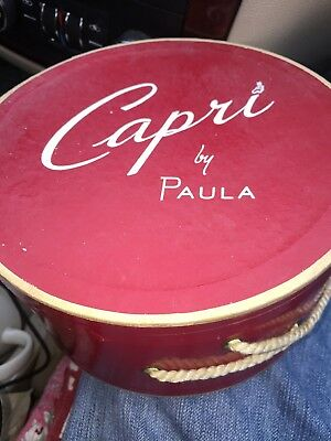 Vintage  Capri By Paula   7 1/2 Inch Red Department Store Hat Box