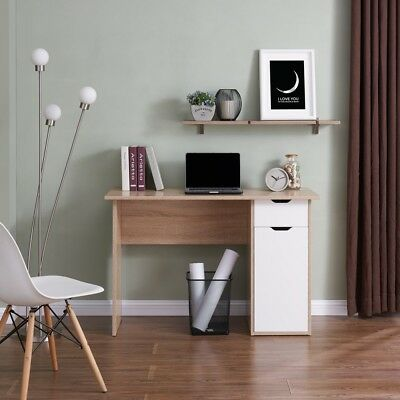 Oak with 2 White Gloss Drawers DESK Modern Design Home Office Furniture New
