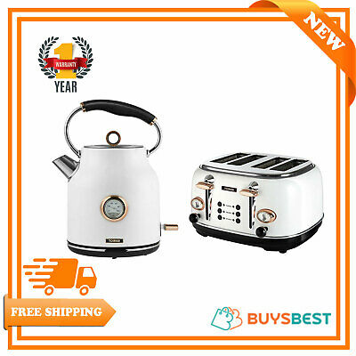 Tower Bottega Rapid Boil 1.7L Kettle & 4 Slice Toaster Set In White & Rose Gold