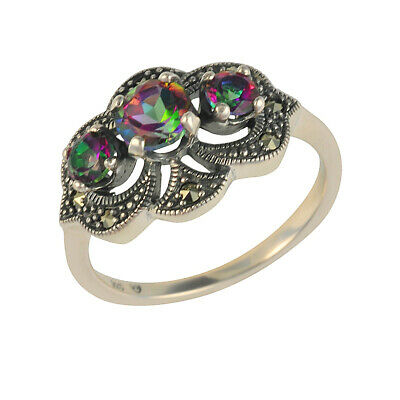 Sterling Silver Mystic Green Topaz & Marcasite Art Nouveau Ring - Size N