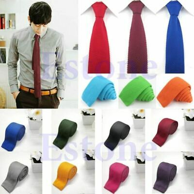 Men's Solid Tie Knit Knitted Tie Pure Color Necktie Narrow Slim Woven