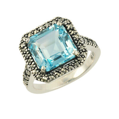 Sterling Silver Emerald Cut 5.965ct Blue Topaz and Marcasite Dress Ring - Size L