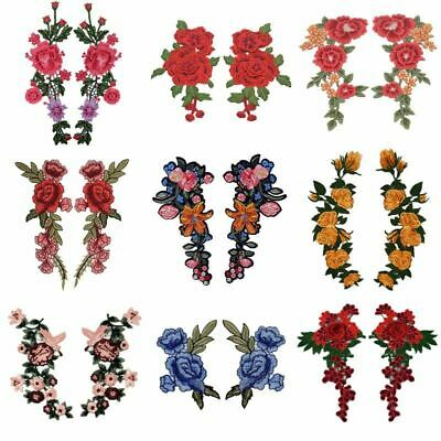 Embroidery Rose Flower Sew On/Iron On Patch Applique diy Crafts 2pc/Set