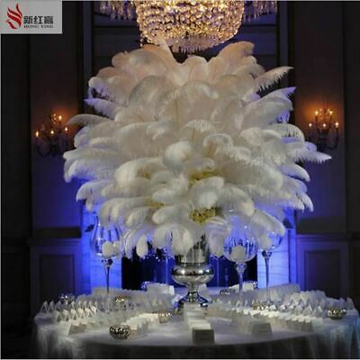 50PCS natural white ostrich feather 25-30 cm / 10 to12 inches feathers