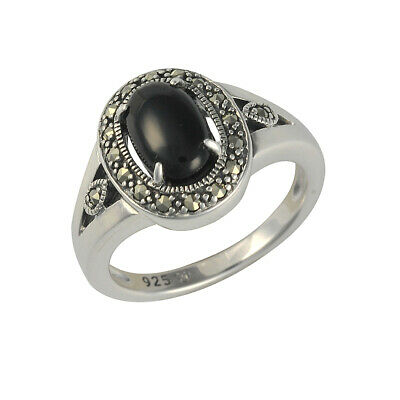 Sterling Silver Oval Cabochon Black Onyx and Marcasite Art Deco Ring - Size O