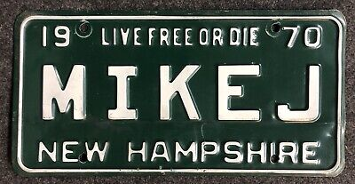 1970 New Hampshire Vanity License Plate MIKEJ NH 70 Mike Michael